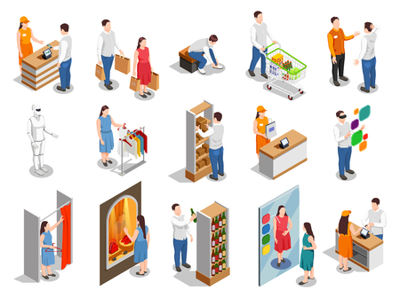 Commercial consumers during fitting of clothing, choice of products, payment on cashier isometric people isolated vector illustration 일러스트