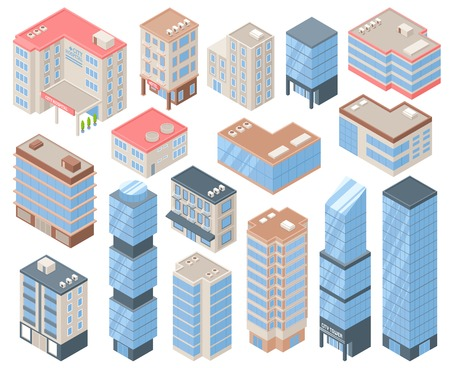 City buildings isometric set with urban life and architecture symbols, isolated vector illustration.