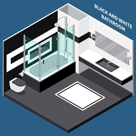 Combined black and white bath room with sanitary engineering. Isometric composition on blue background, vector illustration.