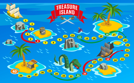 Pirates board game isometric map on blue background with reefs and sail boats vector illustration