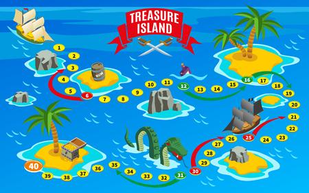 piratas de juego de la bandera mapa isométrico en el fondo azul con los arrecifes y las velas ilustración vectorial