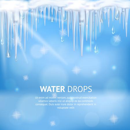 녹는 고 드 름 및 태양 빛 현실적인 벡터 일러스트 레이 션에서 떨어지는 물 방울과 추상 파란색 배경 일러스트