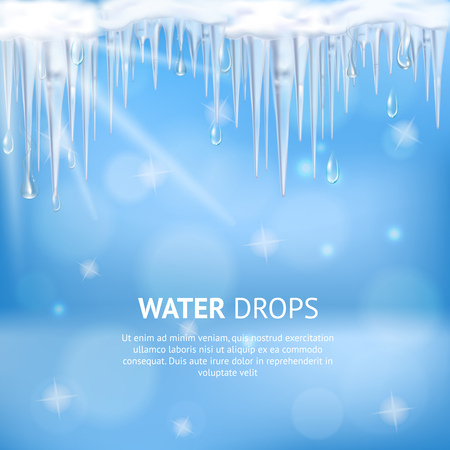 Abstract blue background with water drops falling from melting icicles and sun lights realistic vector illustration 版權商用圖片 - 98106867