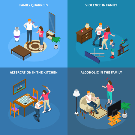 Family problems isometric design concept with conflicts, violence, quarrel in kitchen, alcoholism isolated vector illustration