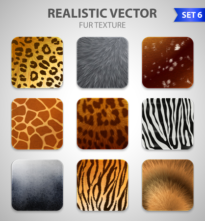 Set of nine wild animal fur texture square patches of different colorful patterns in realistic style vector illustration