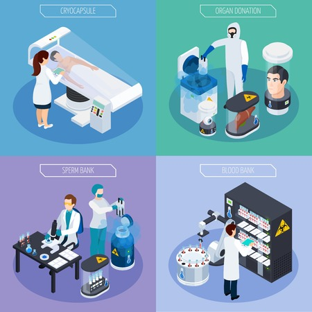 Cryonics cryogenics transplantation isometric 2x2 design concept with laboratory equipment items and human characters of scientists vector illustration