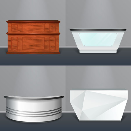 Modern reception desks design 4 realistic models with wooden rectangular plastic circular and abstractly shaped vector illustration  Ilustracja