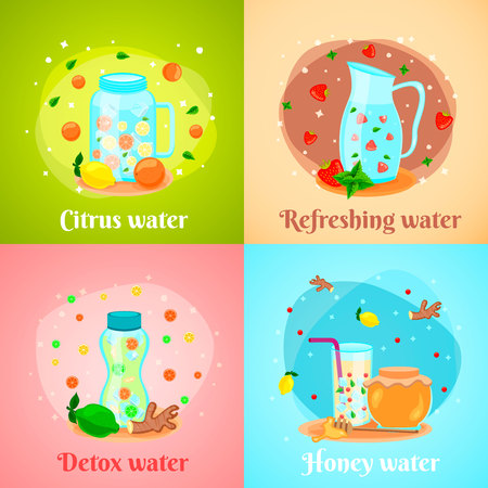 Citrus honey fruits infused detox water body cleansing hydration fat burning 4 flat icons square vector illustration