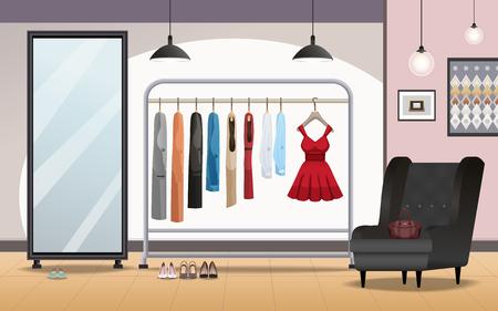 Interior del salón de sala de baño con el soporte de pie dentro de ropa de ropa del espejo del arte del espejo ilustración vectorial brillante Foto de archivo - 98106869