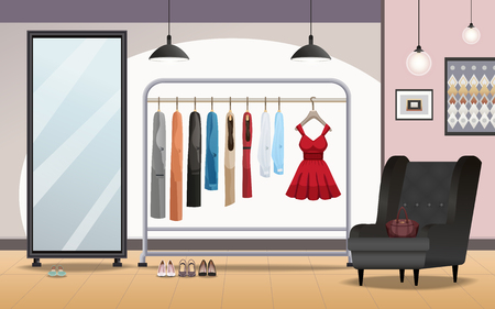 Cloakroom storage room interior with foot wear under clothing rack standing mirror armchair lighting realistic vector illustration