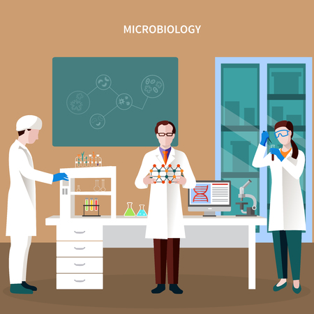 Scientists people flat composition with three persons working in lab and microbiology headline vector illustration