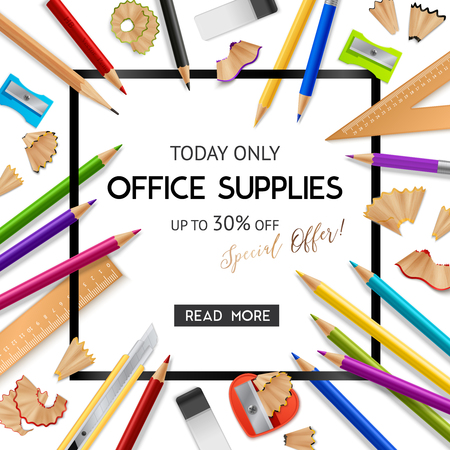 Office supplies sale background with special offer advertising and frame composed of realistic pencils straightedges and erasers vector illustration Stock Illustratie