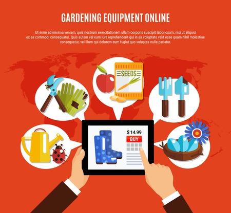 Equipo de pago en línea y semillas para jardinería en la ilustración de vector plano de fondo de primavera Foto de archivo - 98106886