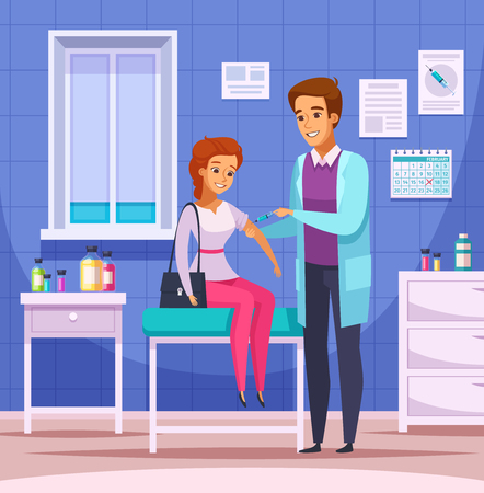 Vaccination Immunity cartoon composition with doodle human characters of doctor and patient with indoor office scenery vector illustration