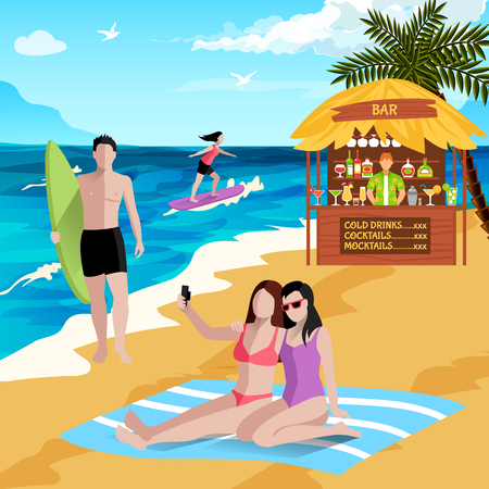 People on beach background with faceless human characters of board surfers vacationers making selfies with beach bar vector illustration Vectores