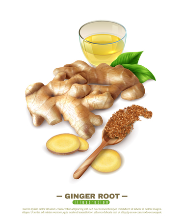 Fresh ginger root, cup of drink, green leaves, wooden spoon with powder, 3D composition vector illustration