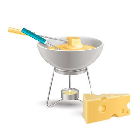 Cheese fondue in ceramic bowl on fire from candle realistic composition on white background vector illustration Illustration