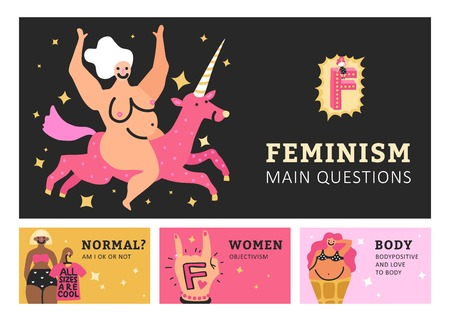 Feminism set of horizontal banners with symbol and gesture, female freedom, movement body positive isolated vector illustration Illustration