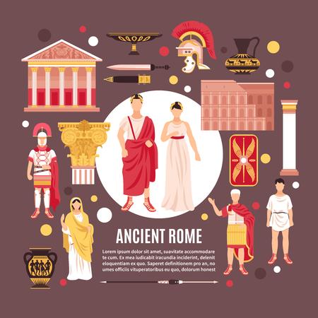 Los antiguos romanos ciudadanos cultura arquitectura monumentos históricos composición plana póster con panteón coliseo cerámica legionario ilustración vectorial