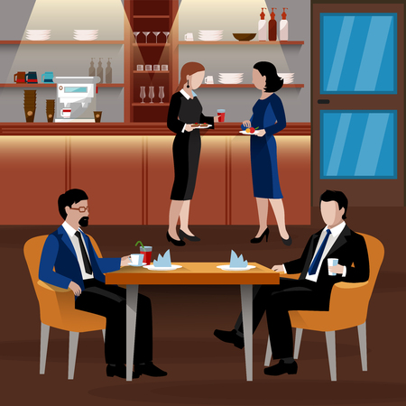 Colored business lunch people composition with flat people in suits and an office room drink coffee and have a lunch vector illustration Ilustração