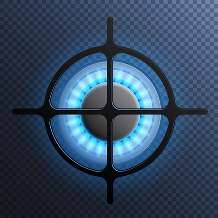 Realistic gas flame burner plate composition with transparent background and blue flame vector illustration Çizim