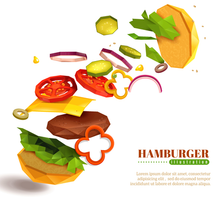 3D flying hamburger with sesame bun, lettuce and sliced vegetables, cheese, cutlet on white background vector illustration