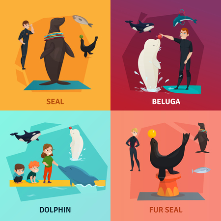 Dolphinarium show concept icons set with seal and dolphin symbols flat isolated vector illustration