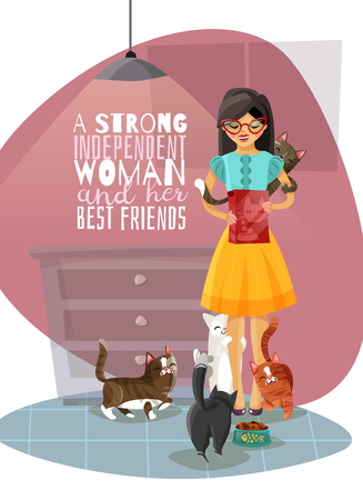 Young independent lady in glasses during feeding cats in home interior, phrase about best friends vector illustration Reklamní fotografie - 98107126