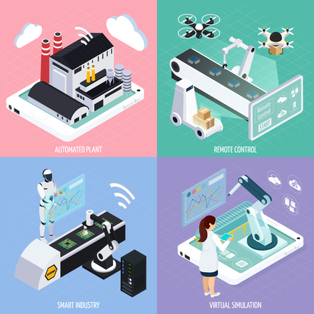Smart industry isometric design concept with images of futuristic production assets robots and automated plants vector illustration Illustration