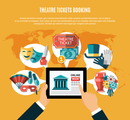 Theatre flat composition set with theatre ticket booking headline and mans hands using laptop vector illustration
