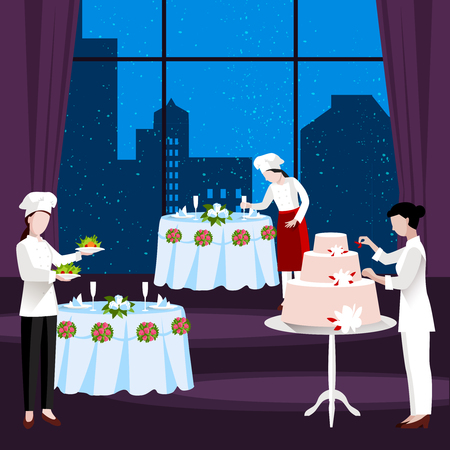 Flat cooking people flyer with the restaurant is decorated and arranged a meal and cake for wedding party vector illustration
