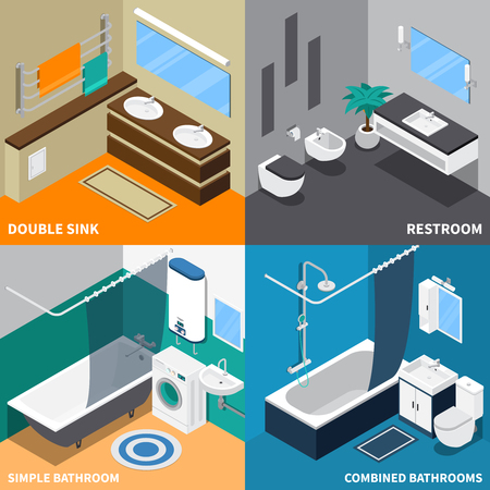Sanitary engineering isometric design concept with toilet, simple and combined bath room, double sink isolated vector illustration Stock Illustratie