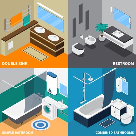 Concept de conception isométrique de génie sanitaire avec toilettes, salle de bain simple et combinée, illustration vectorielle isolée double évier