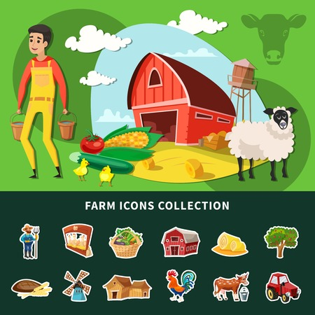 Colored cartoon farm composition with isolated farm icon set or collection combined together vector illustration