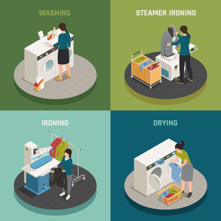 Isometric laundry design concept with people washing ironing and drying clothes 3d isolated vector illustration