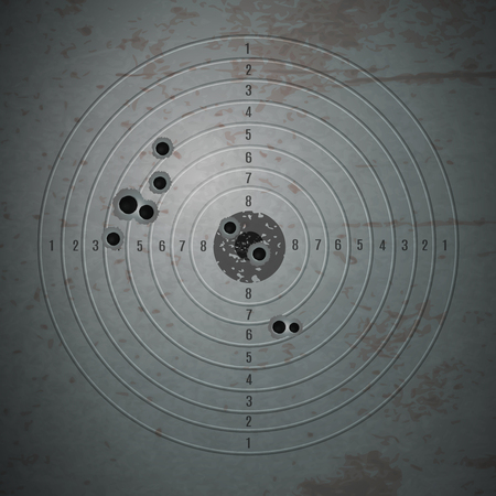 Bullet shot holes target composition with realistic image of bulled riddled training target filled with pinpoints vector illustration 일러스트