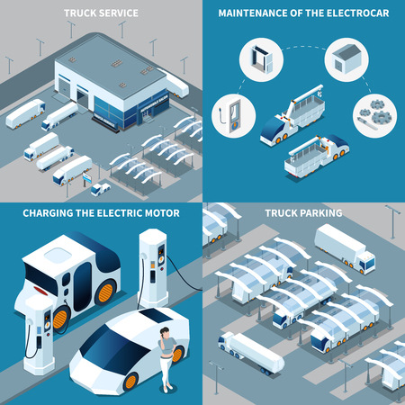 Futuristic electric vehicles isometric design concept with truck service, car maintenance, motor charging, parking isolated vector illustration