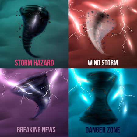 Storm hurricane tornado cyclone realistic 2x2 design concept with colourful pictures of various environmental incidents vector illustration Ilustracja