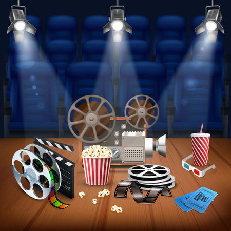 Realistic background with different objects for shooting and watching movies and empty seats in cinema vector illustration