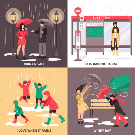 Bad weather concept icons set with people in the street symbols flat isolated vector illustration