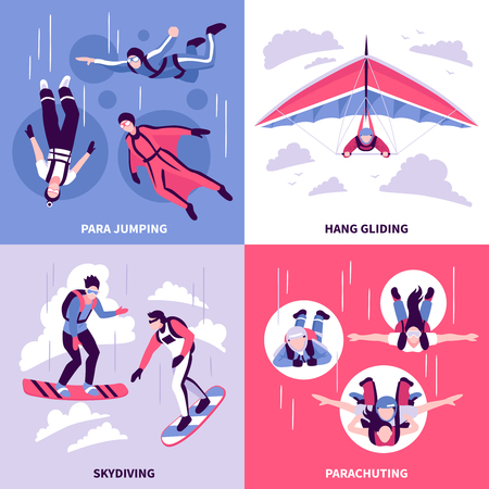 Skydiving concept icons set with hang gliding symbols flat isolated vector illustration Vectores