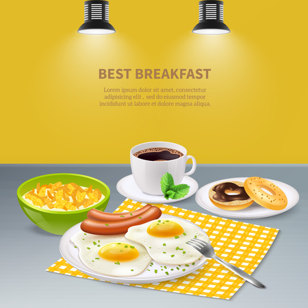 Best tasty breakfast with eggs sausages flakes donuts and coffee on grey table realistic background vector illustration
