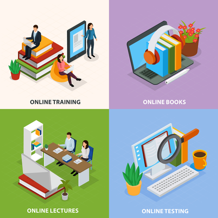 Online education isometric design concept, web training, electronic books, internet lectures, knowledge test isolated vector illustration