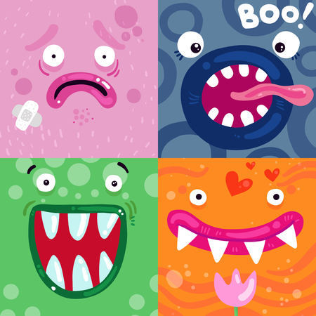 Funny monsters facial expressions concept colorful icons pink green blue orange square poster isolated vector illustration