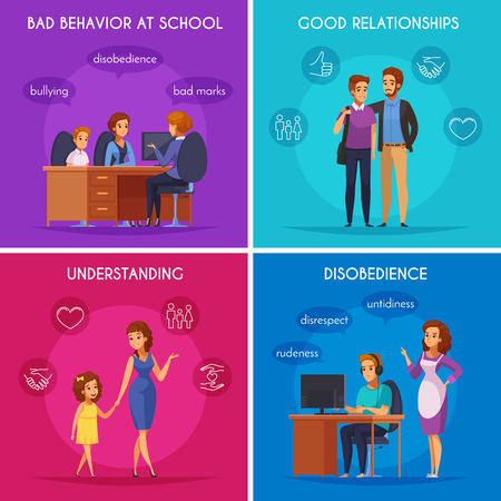 Children parents parenthood 2x2 design concept with flat cartoon style characters of kids in various situations vector illustration.