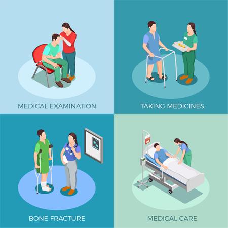 検査、薬の服用、骨折、医療隔離ベクターイラストによる医師および患者のアイソメトリック設計コンセプト  イラスト・ベクター素材