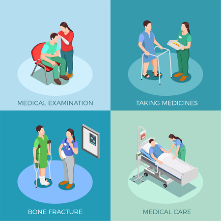 Doctor and patient isometric design concept with examination, taking medicines, bone fracture, medical care isolated vector illustration