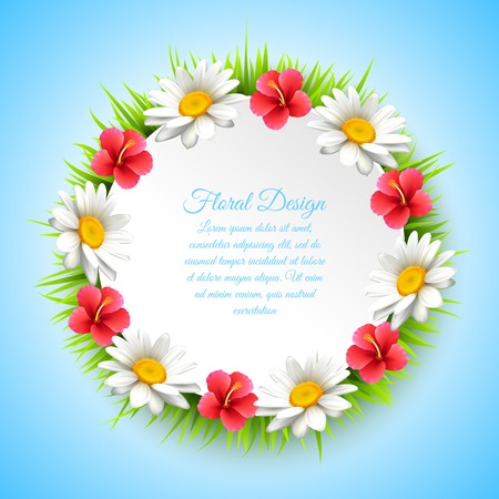 Daisy realistic multicolored composition with wreath of flowers place for text at the center and floral design vector illustration Ilustracja