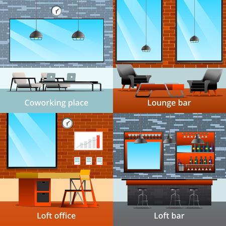 ロフトの内部要素はコワーキングオフィスルームとバーベクトルイラストの4つの構成とフラット2x2デザインコンセプトをグラデーション  イラスト・ベクター素材
