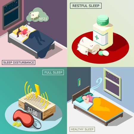 Sleep disturbance, medical remedy, objects for good night rest, healthy dream isometric design concept isolated vector illustration.